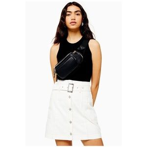 TOPSHOP White Button Down Belted Denim Skirt